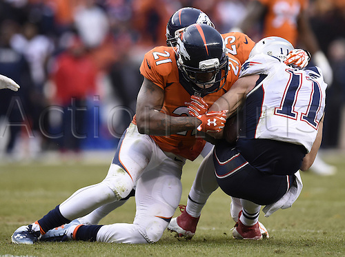 24.01.2016. Denver, Colorado, USA. The NFL AFC Championship American Football match. Broncos defenders Aqib Talib and Chris Harris Jr. stop Patriots wide receiver Julian Edelman short of a first down on fourth and one during the fourth quarter of the AFC Championship game on Sunday