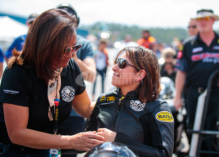 Mar 15, 2019; Gainesville, FL, USA; NHRA pro stock motorcycle rider Jianna Salinas (right) with mother Monica Salinas during qualifying for the Gatornationals at Gainesville Raceway. Mandatory Credit: Mark J. Rebilas-USA TODAY Sports