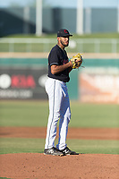 AZL Indians 1 starting pitcher Raymond Burgos (46) gets ready to deliver a pitch during an Arizona League playoff game against the AZL Rangers at Goodyear Ballpark on August 28, 2018 in Goodyear, Arizona. The AZL Rangers defeated the AZL Indians 1 7-4. (Zachary Lucy/Four Seam Images)