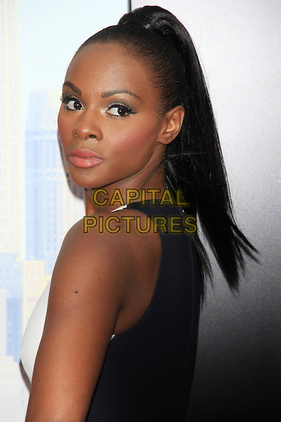 "Tika Sumpter.The Premiere of ""Madea's Witness Protection"" held at AMC Loews Lincoln Square Cinemas, New York, NY., USA..June 25th, 2012.headshot portrait black white blue sleeveless  looking over shoulder ponytail .CAP/LNC/TOM.©LNC/Capital Pictures."