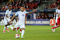 Lewis Baker of England scores the second goal from the penalty spot during England Under-21 vs Poland Under-21, UEFA European Under-21 Championship Football at The Kolporter Arena on 22nd June 2017