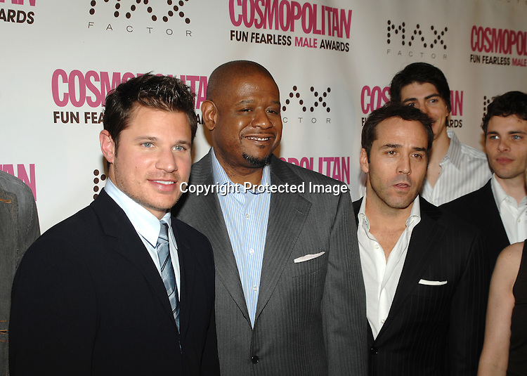 Nick Lachey, Forest Whitaker and Jeremy Piven and James Marsden and Brandon Routh in back..at The Cosmopolitan Fun Fearless Male of the Year Award Luncheon on January 22, 2007 at Ciprianis 42nd Street. All of the men were honored...Robin Platzer, Twin Images