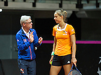 Arena Loire,  Trélazé,  France, 14 April, 2016, Semifinal FedCup, France-Netherlands, Dutch team warming up, Arantxa Rus and coach Martin Bohm<br /> Photo: Henk Koster/Tennisimages
