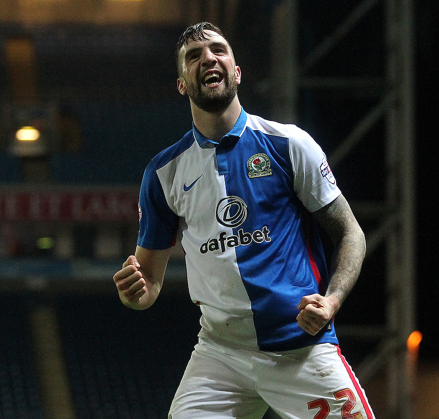 Blackburn Rovers Shane Duffy celebrates scoring his sides second goal <br />