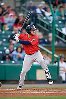 Pawtucket Red Sox third baseman Mike Olt (5) at bat during a game against the Rochester Red Wings on May 19, 2018 at Frontier Field in Rochester, New York.  Rochester defeated Pawtucket 2-1.  (Mike Janes/Four Seam Images)
