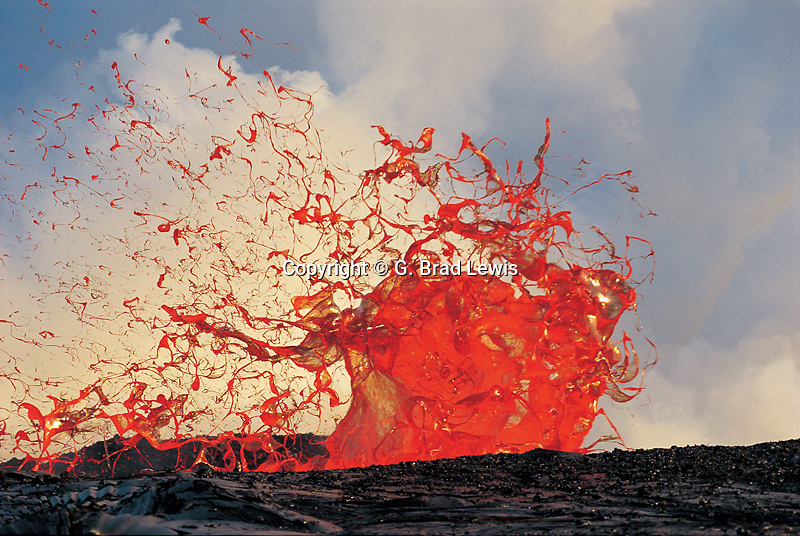 exploding bubble of lava. Kilauea Volcano, Hawaii