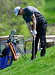 Francis Howell HS golfer Cole Prager chips onto the green at the 11th fairway. The District 3 Boys Golf Championships were held at The Quarry at Crystal Springs Golf Course on Monday April 30, 2018. Tim Vizer | Special to STLhighschoolsports.com