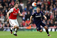 7th March 2020; Emirates Stadium, London, England; English Premier League Football, Arsenal versus West Ham United; Pablo Fornals of West Ham United is under pressure from Sokratis Papastathopoulos of Arsenal