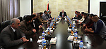 Palestinian Prime Minister Rami al-Hamdallah meets with Regulatory Authority for Qalandiya Camp , in the West Bank city of Ramallah  on  March 23  2017. Photo by Prime Minister Office