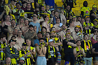 Yellow Fever fans react as Glory equalise during the A-League football match between Wellington Phoenix and Perth Glory at Westpac Stadium in Wellington, New Zealand on Saturday, 2 December 2018. Photo: Dave Lintott / lintottphoto.co.nz