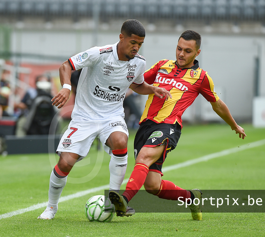 20190803 - LENS , FRANCE : pictured during the soccer match between Racing Club de LENS and En Avant Guingamp , on the second matchday in the French Dominos pizza Ligue 2 at the Stade Bollaert Delelis stadium , Lens . Saturday 3 th August 2019 . PHOTO DIRK VUYLSTEKE | SPORTPIX.BE