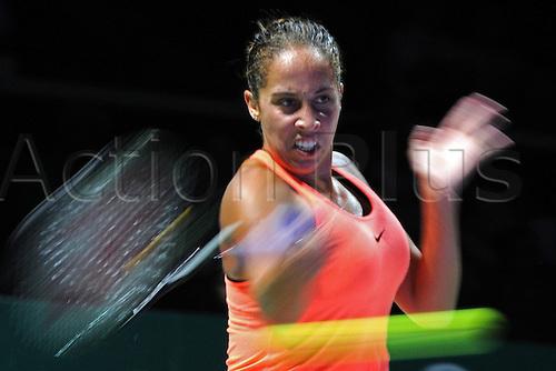 25.10.2016. Singapore, Malaysia. WTA Finals Singapore Open.  Madison Keys of U.S. competes during the WTA Tennis  Womens Finals round robin match against Dominika Cibulkova of Slovakia at Singapore Indoor Stadium, Oct. 25, 2016. Keys won 2-0.