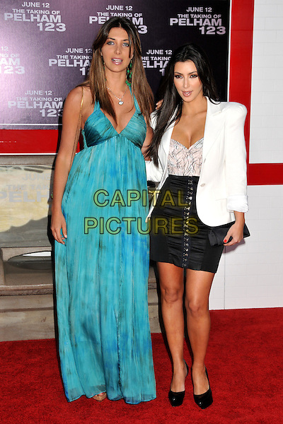 "BRITTNY GASTINEAU & KIM KARDASHIAN.""The Taking of Pelham 123"" Los Angeles Premiere held at Mann's Village Theatre, Westwood, CA, USA..June 4th, 2009.full length jacket black skirt ruched clutch bag cleavage white blue turquoise teal long maxi dress .CAP/ADM/BP.©Byron Purvis/AdMedia/Capital Pictures."
