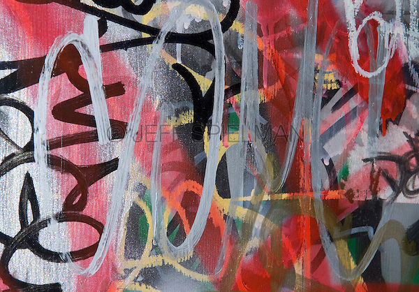 Detail of Wall Covered with Layers of Graffiti Tags, Mechanic's Alley, Chinatown, Lower Manhattan, New York City, New York State, USA