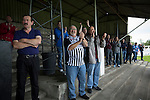Home supporters applauding their team's third goal at Borough Briggs, home to Elgin City, on the day they played SPFL2 newcomers Edinburgh City (in yellow). Elgin City were a former Highland League club who were elected to the Scottish League in 2000, whereas Edinburgh City became the first club to gain promotion to the League by winning the Lowland League title and subsequent play-off matches in 2015-16. This match, Edinburgh City's first away Scottish League match since 1949, ended in a 3-0 defeat, watched by a crowd of 610.