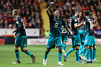 Andre Ayew of Swansea City celebrates his goal during the Sky Bet Championship match between Charlton Athletic and Swansea City at The Valley, London, England, UK. Wednesday 02 October 2019