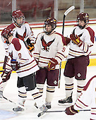 David Dansky (BC - 37), Billy Scannell (BC - 9), Chris Cobb (BC - 4) - The Boston College Eagles defeated the visiting Boston University Terriers 6-2 in ACHA play on Sunday, December 4, 2011, at Kelley Rink in Conte Forum in Chestnut Hill, Massachusetts.