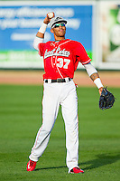 James Baldwin (37) of the Great Lakes Loons warms up in the outfield prior to the game against the Wisconsin Timber Rattlers at the Dow Diamond on May 4, 2013 in Midland, Michigan.  The Timber Rattlers defeated the Loons 6-4.  (Brian Westerholt/Four Seam Images)