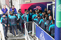 The players shake hands on the balcony at the abandonment of the game during Pakistan vs Sri Lanka, ICC World Cup Cricket at the Bristol County Ground on 7th June 2019
