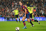 Football Season 2009-2010. Barcelona's player Zlatan Ibrahimovic is challanged during their Spanish first division soccer match at Camp Nou stadium in Barcelona October 25, 2009