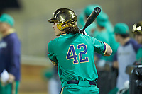 Brooks Coetzee (42) of the Notre Dame Fighting Irish waits for his turn to bat during the game against the Wake Forest Demon Deacons at David F. Couch Ballpark on March 10, 2019 in  Winston-Salem, North Carolina. The Fighting Irish defeated the Demon Deacons 8-7 in 10 innings in game two of a double-header. (Brian Westerholt/Four Seam Images)