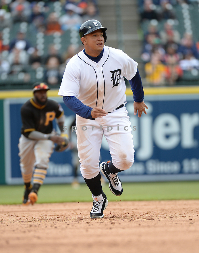 Detroit Tigers Miguel Cabrera (24) during a game against the Pittsburgh Pirates on April 11, 2016 at Comerica Park in Detroit, MI. The Pirates beat the Tigers 7-4.