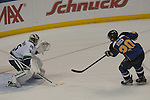 St. Louis Blues left wing Alexander Steen (20) shoots the winning goal past Vancouver Canucks goalie Cory Schneider (35) during a shootout during a game between the Vancouver Canucks and the St. Louis Blues on Tuesday April 16, 2013 at the Scottrade Center in downtown St. Louis.