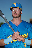 Ian Happ (5) of the Myrtle Beach Pelicans poses for a photo prior to the game against the Winston-Salem Dash at BB&T Ballpark on April 18, 2016 in Winston-Salem, North Carolina.  The Pelicans defeated the Dash 6-4.  (Brian Westerholt/Four Seam Images)