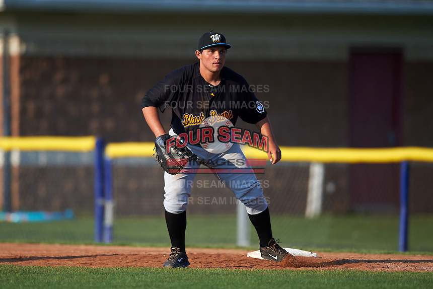 West Virginia Black Bears first baseman Carlos Munoz (56) during a game against the Batavia Muckdogs on August 30, 2015 at Dwyer Stadium in Batavia, New York.  Batavia defeated West Virginia 8-5.  (Mike Janes/Four Seam Images)