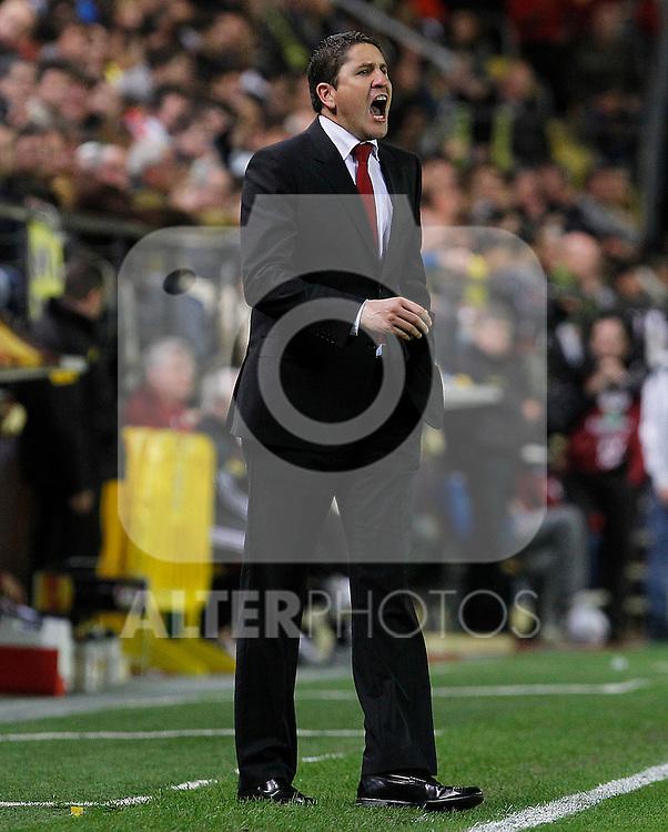 Villareal's coach Juan Carlos Garrido during UEFA Europa League match.March 17,2011. (ALTERPHOTOS/Acero)