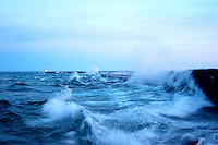 Lake Superior waves crashing into the breakwall in Marquette, Michigan.