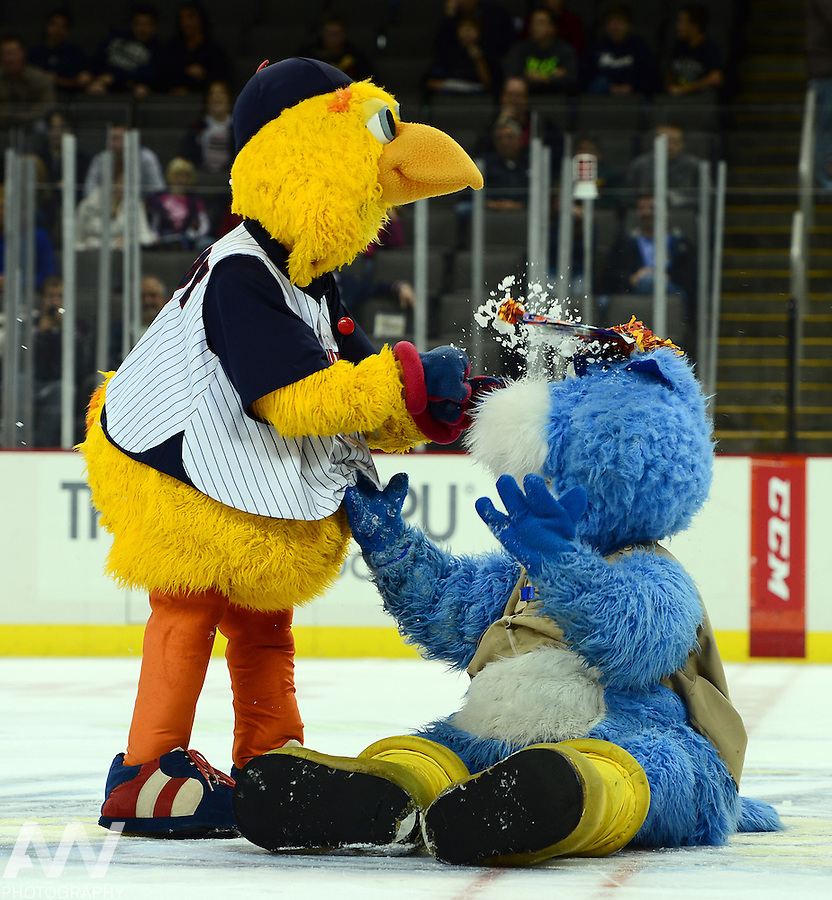 Oct 19, 2012; Toledo, OH, USA; Toledo Walleye mascot CatTrick and Muddy against the Cincinnati Cyclones at Huntington Center: Mandatory Credit: Andrew Weber