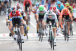 Dutch Champion Fabio Jakobsen (NED) Deceuninck-Quick Step wins the final Stage 21, from Irish Champion Sam Bennett (IRL) Bora-Hansgrohe, of La Vuelta 2019 running 106.6km from Fuenlabrada to Madrid, Spain. 15th September 2019.<br /> Picture: Luis Angel Gomez/Photogomezsport | Cyclefile<br /> <br /> All photos usage must carry mandatory copyright credit (© Cyclefile | Luis Angel Gomez/Photogomezsport)