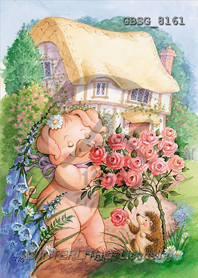 Ron, CUTE ANIMALS, paintings, pig, hedgehog, roses(GBSG8161,#AC#) illustrations, pinturas ,everyday
