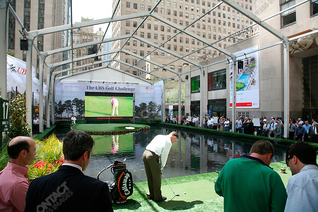 To promote The Players championship, round of the PGA tour, the Professional Golf Association (PGA) created, in the middle of Rockefeller Center, a sized down replica of the 17th hole from the Sawgrass golf course home of the championship. The public was invited to attempt a hole-in-one, New York City, New York, May 5, 2007.