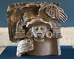 A ceramic effigy from the ruins of the Zapotec city of Atzompa in the Museo Comunitario Santa Maria Atzompa, Oaxaca, Mexico.