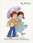 Interlitho, Mercedes, CHILDREN, nostalgic, paintings, 2 kids, umbrella(KL3542/1,#K#) Kinder, niños, nostalgisch, nostálgico, illustrations, pinturas