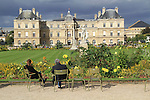Visitors and the Palais du Luxembourg at Luxembourg Gardens, Paris, France,