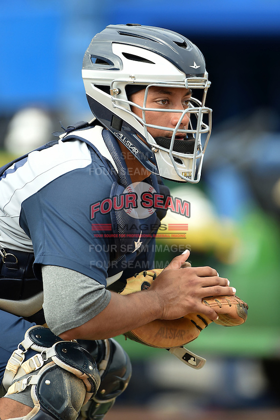 Brevard County Manatees catcher Rafael Neda (12) during practice before a game against the Dunedin Blue Jays on April 23, 2015 at Florida Auto Exchange Stadium in Dunedin, Florida.  Brevard County defeated Dunedin 10-6.  (Mike Janes/Four Seam Images)