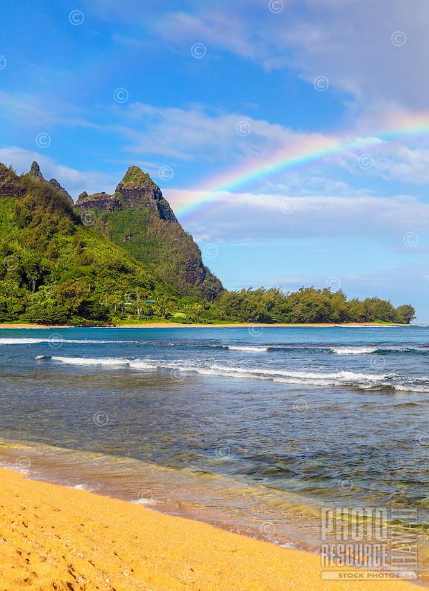 A double rainbow at Mt. Makana (also called Bali Hai), seen from the beach in Ha'ena, northern Kaua'i.