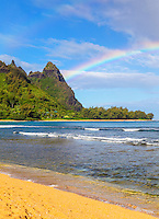 A double rainbow at Mt. Makana (also called Bali Hai), seen from the beach in Ha'ena, northern Kaua'i.
