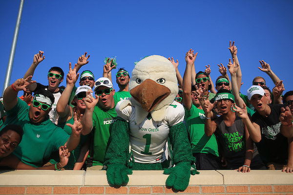 DENTON, TX - SEPTEMBER 14:  Scrappy the North Texas Mean Green mascot at the North Texas Mean Green Football vs Ball State at Apogee Stadium on September 14, 2013 in Denton, Texas. NT won 34-27. Photo by James Coreas for Rick Yeatts Photography