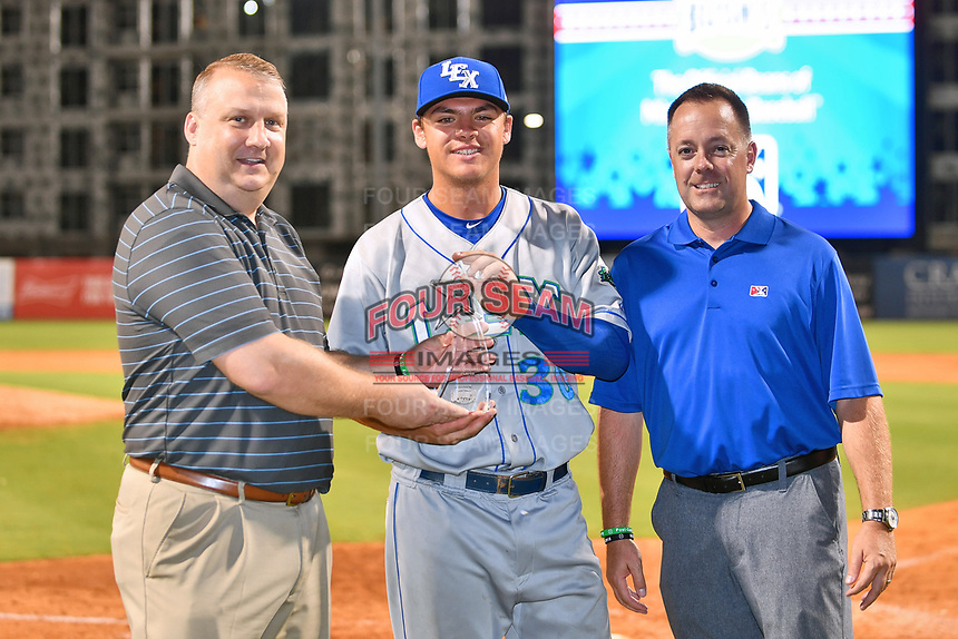 South Atlantic League President Eric Krupa presents the Most Valuable Player award to Nick Pratto (30)  of the Lexington Legends after the South Atlantic League All Star Game at First National Bank Field on June 19, 2018 in Greensboro, North Carolina. The game Southern Division defeated the Northern Division 9-5. (Tony Farlow/Four Seam Images)