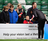 Lincoln City manager Danny Cowley signs autographs for fans during the pre-match warm-up<br /> <br /> Photographer Chris Vaughan/CameraSport<br /> <br /> Emirates FA Cup First Round - Lincoln City v Northampton Town - Saturday 10th November 2018 - Sincil Bank - Lincoln<br />  <br /> World Copyright © 2018 CameraSport. All rights reserved. 43 Linden Ave. Countesthorpe. Leicester. England. LE8 5PG - Tel: +44 (0) 116 277 4147 - admin@camerasport.com - www.camerasport.com