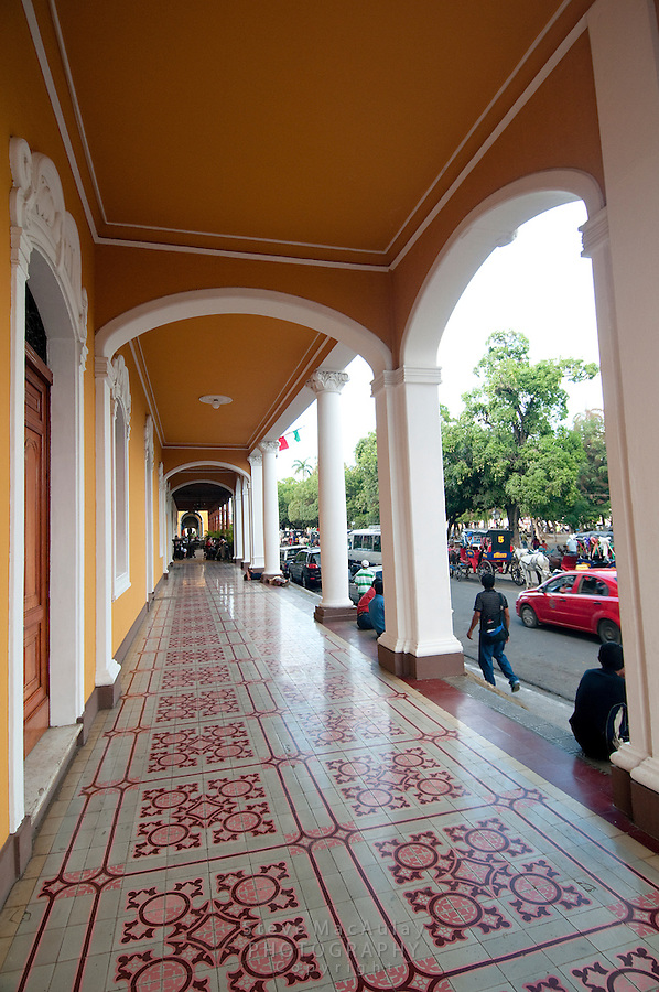 The intricate colonnade of the Italian Consulate on Parque Colon, Granada, Nicaragua