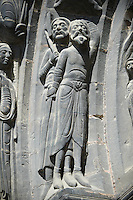 Medieval sculptures from the south portal of the Gothic Cathedral Basilica of Saint Denis ( Basilique Saint-Denis ) Paris, France. A UNESCO World Heritage Site.