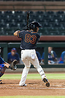 AZL Giants Black shortstop Enoc Watts (83) at bat during an Arizona League game against the AZL Rangers at Scottsdale Stadium on August 4, 2018 in Scottsdale, Arizona. The AZL Giants Black defeated the AZL Rangers by a score of 6-3 in the second game of a doubleheader. (Zachary Lucy/Four Seam Images)