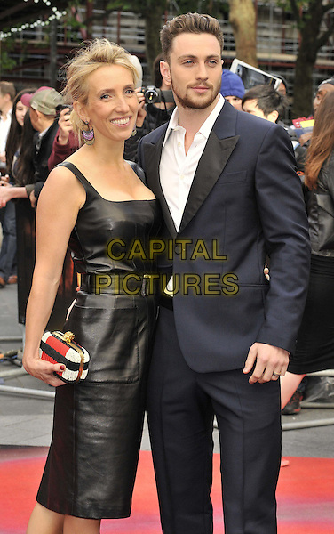 LONDON, ENGLAND - MAY 11: Sam Taylor-Wood &amp; Aaron Taylor-Johnson attend the &quot;Godzilla&quot; UK film premiere, Odeon Leicester Square cinema, Leicester Square, on Sunday May 11, 2014 in London, England, UK.<br /> CAP/CAN<br /> &copy;Can Nguyen/Capital Pictures