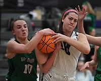 Fayetteville's Sydney Kincaid struggles for possession of the ball with Van Buren's Lexi Miller Tuesday Feb. 11, 2020. More images at nwaonline.com/prepbball/(NWA Democrat-Gazette/J.T. Wampler)
