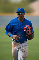 Chicago Cubs right fielder Nelson Velazquez (20) jogs off the field between innings of a Minor League Spring Training game against the Oakland Athletics at Sloan Park on March 13, 2018 in Mesa, Arizona. (Zachary Lucy/Four Seam Images)